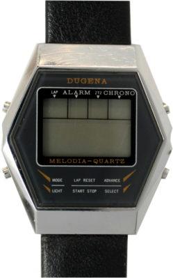 Dugena LCD Herren Armbanduhr digital mit Alarm Stoppuhr Lederband schwarz 36mm x 40mm gebraucht