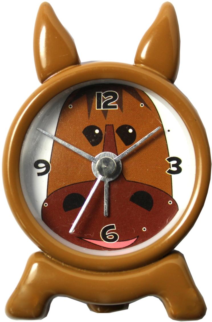 Wecker für Kinder Quarz klein Tier Motiv 42mm braun