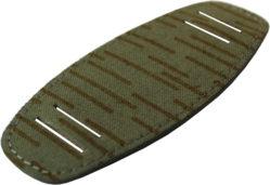 Upcycling Unterlage für Uhrband aus original NVA Zeltstoff ein strich kein strich grün