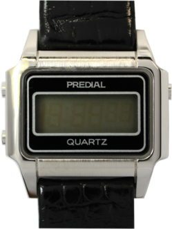 Predial Quartz Herren Armbanduhr LCD digital Lederband schwarz 33mm x 25mm gebraucht 714-176