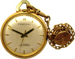 Predial Taschenuhr Handaufzug 17 Jewels Plaque vergoldet mit Kette 34mm gebraucht