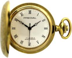 Predial Taschenuhr Handaufzug 17 Jewels gold mit Sprungdeckel 36mm gebraucht