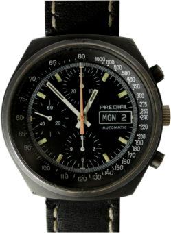 Predial mechanischer Automatik Chronograph swiss made day date Leder Uhrband schwarz gebraucht