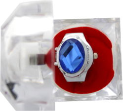 Excellanc Damenuhr Quarz Fingerring mit Fingerband und Stein blau oval mit Etui gebraucht