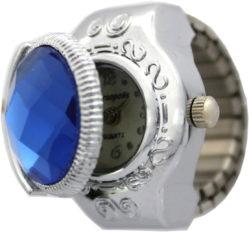 Persopolis Damen Fingerring Quarz Uhr mit Fingerband und Stein blau rund mit Etui gebraucht