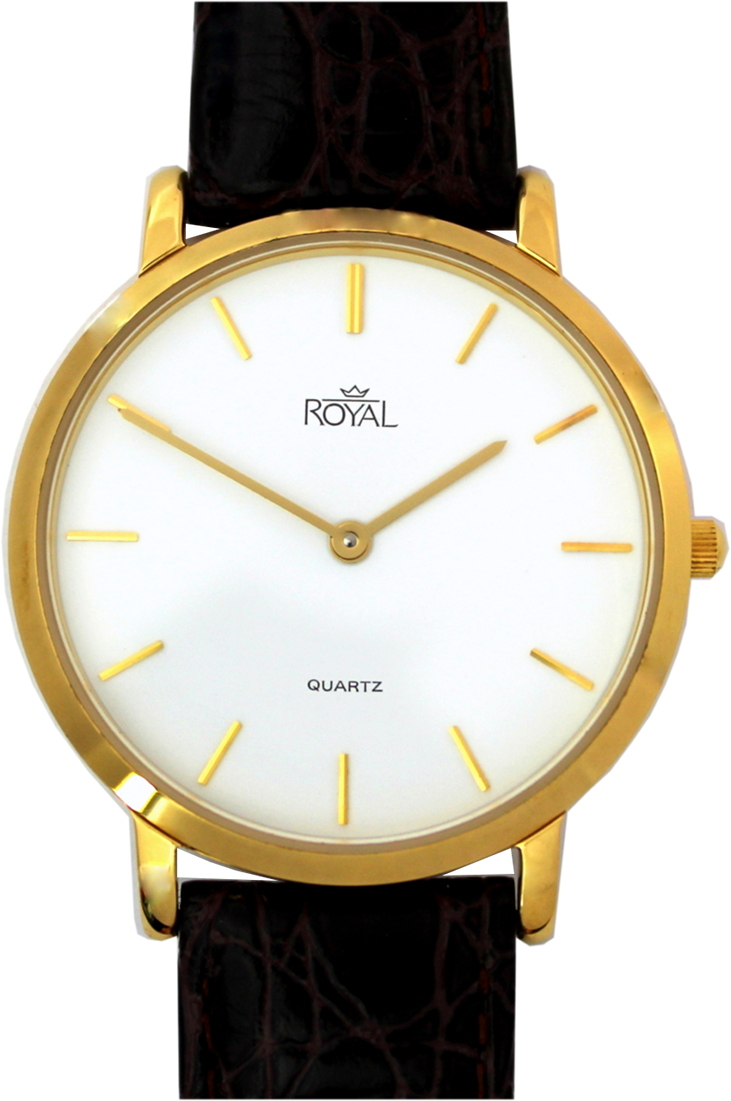 Royal Armbanduhr elegant flach Quartz Uhrenarmband Leder braun kroko optik 34mm gebraucht
