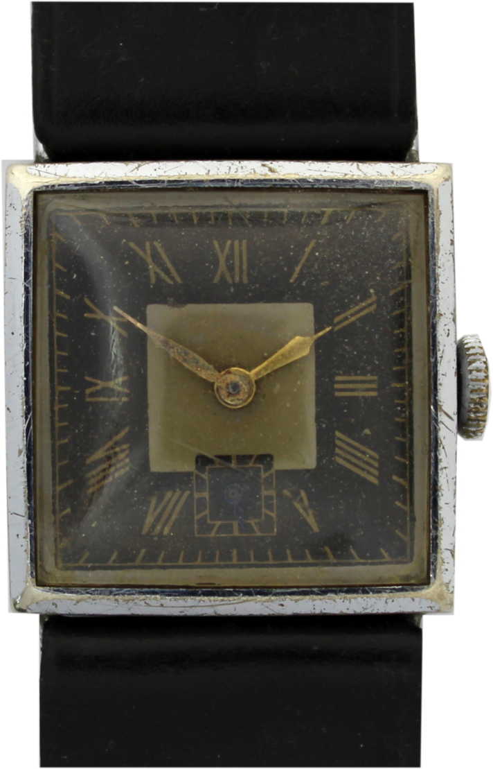 Herren Armbanduhr vintage art deco Uhr Lederband zeitgenössisch schwarz NOS 26mm