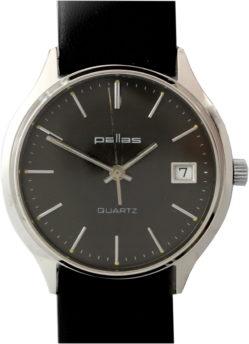 Pallas Herrenuhr Quartz mit Datum Ziffernblatt schwarz Lederuhrband neu 33mm gebraucht