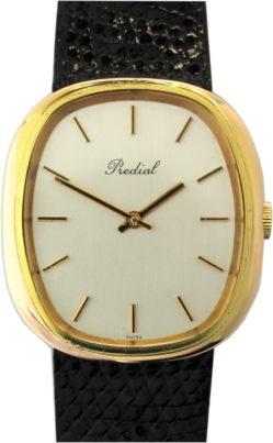 Predial Herrenuhr swiss made Plaque G 10 vergoldet Uhrenarmband schwarz echt Eidechse 32mm x 35,5mm