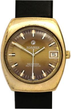 Roamer Searock Automatic Herren Uhr swiss made vintage Herrenuhr gold 33mm x 39mm gebraucht Lederband schwarz neu