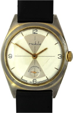 Ruhla Herrenuhr made in Germany Handaufzug Uhrenarmband Leder neu schwarz 34mm