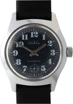 Ruhla Herrenuhr mechanisch Made in GDR kleine Sekunde Lederband schwarz neu 33mm gebraucht