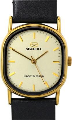 Sea Gull Armbanduhr Quartz Uhrenarmband Leder neu schwarz 28mm x 31mm gebraucht