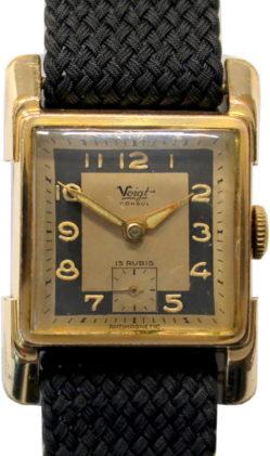 Voigt consul Herrenuhr Carre Handaufzug 15 Steine dezentrale sekunde Perlon Uhrenarband schwarz gebraucht 25,5mm