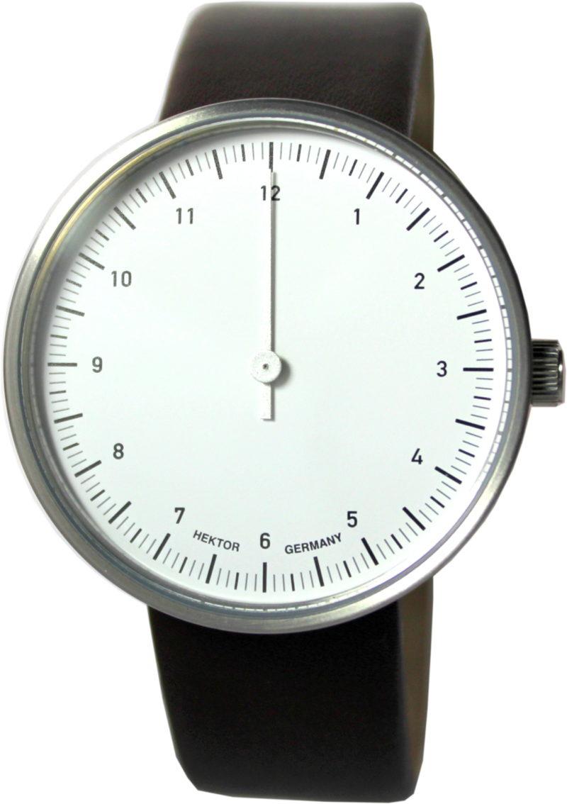 HEKTOR eins Einzeiger Uhr Quarz Edelstahl Lederband braun 40mm
