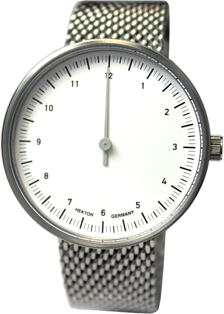 HEKTOR eins Einzeiger Uhr Quarz Edelstahl silber Milanaiseband 40mm