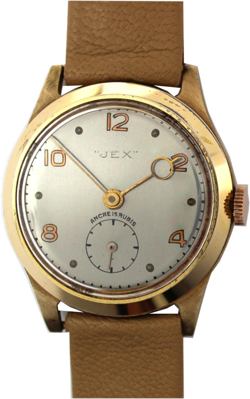 Jex Herrenuhr mechanisch Ancre 15 Rubis dezentrale Sekunde rose vintage Lederband beige 31mm