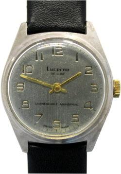Lucerne de Luxe swiss made Herrenuhr mechanisch Lederband schwarz neu 34mm