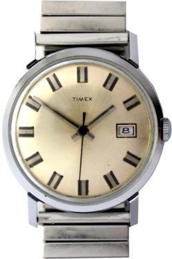Timex Herren Armbanduhr Handaufzug Datum Edelstahl Fixo-Flex Band 33,5mm