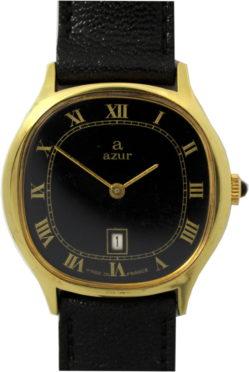 Azur elegante Damenuhr Handaufzug Made in France Datum 32mm x 30mm Lederband schwarz gebraucht