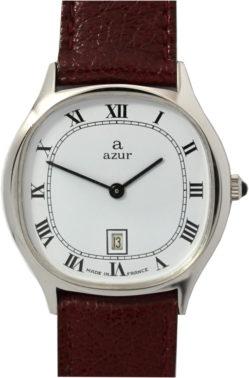 Azur elegante Damenuhr Handaufzug Made in France Datum 32mm x 30mm Lederband rotbraun