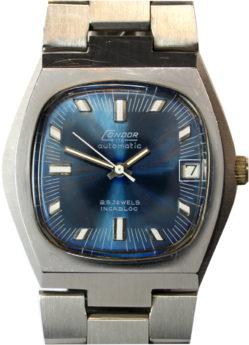Condor 115 Herrenuhr Automatic 25 Jewels mit Datum Edelstahlarmband Ziffernblatt blau 36mm
