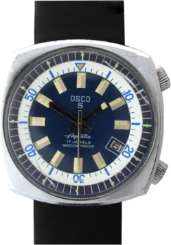 Osco S Aquatic 17 Jewels mechanische Herrenuhr Datum Lederband schwarz neu 39mm