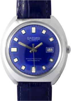 Oxford Herrenuhr 17 Jewels mechanisch Datum Ziffernblatt blau Uhrenarmband Leder Krokoprägung 38mm x 35,5mm