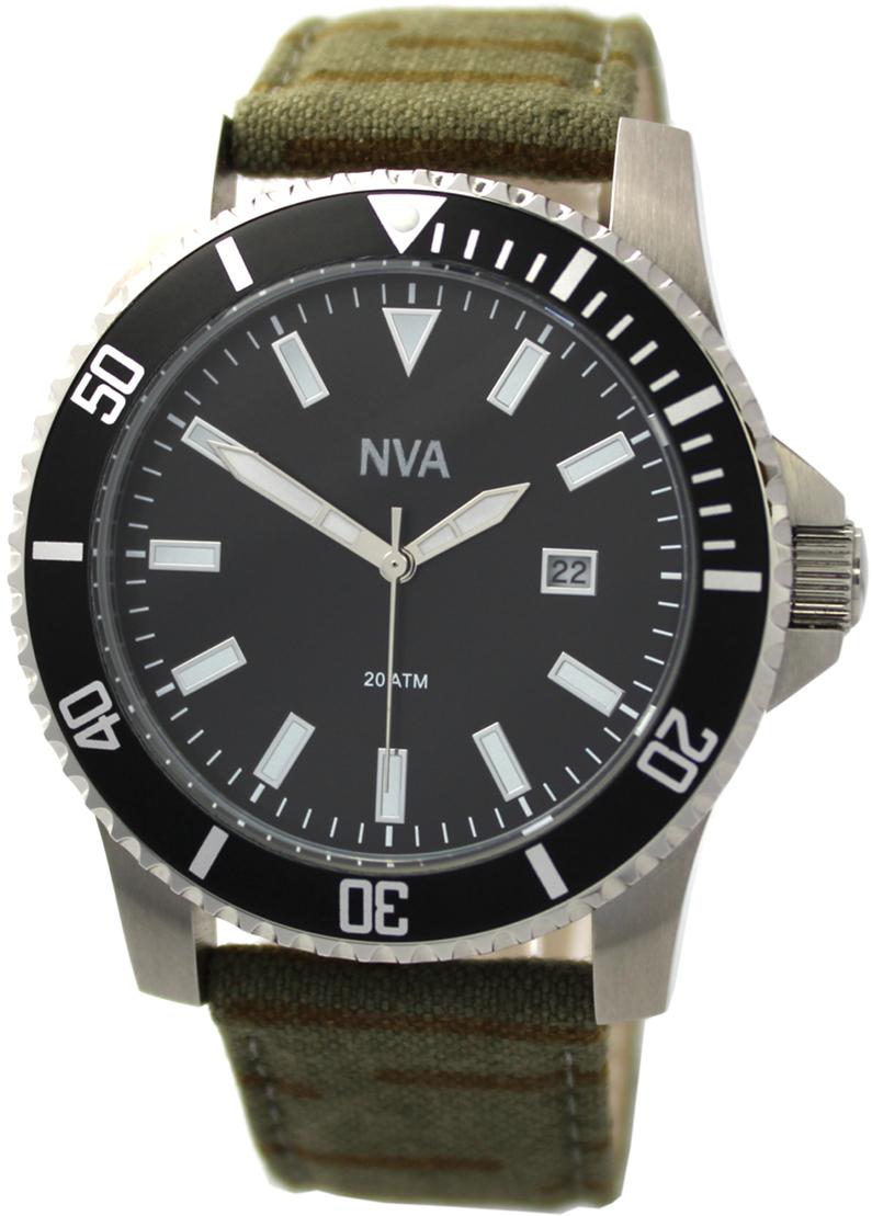 NVA Herrenuhr Edelstahl Lünette schwarz 43mm Uhrband Tarnmuster geschraubte Krone 20BAR 200m
