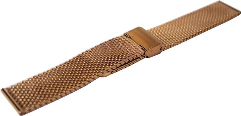 HEKTOR Milanaise Edelstahl rose IP dickes Uhrenarmband Klappschließe Anstoß 20mm